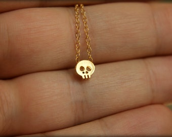 Tiny Skull Necklace, Available in Sterling Silver or Gold Vermeil