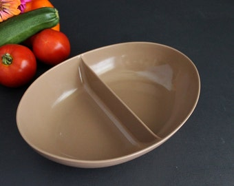 Vintage Melmac Brown Oval Divided Bowl Melamine Serving Dish Peas and Carrots
