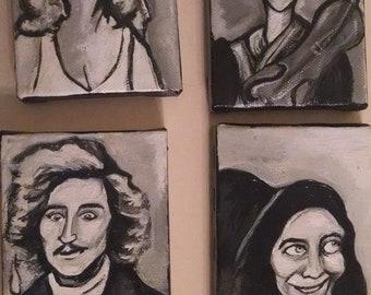 Young Frankenstein Mini Paintings (Set of 4) Frederick, Igor, Inga, and Frau Blucher --- Gener Wilder, Marty Feldman, Mel Brooks Art Comedy