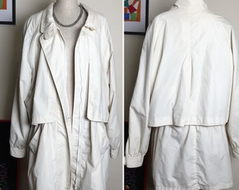 Old School Parka Jacket Vintage Overcoat Oversized Spring Off White Size M L UK10 UK 12 UK14