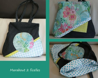 """Bag trapezoid woman """"Petals"""" turquoise cotton and denim"""