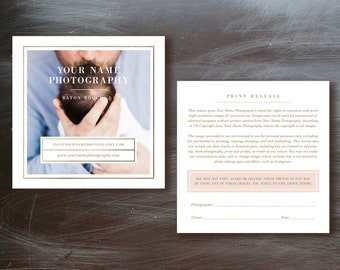 Print Release Template Form - Photographer Licensing Agreement - Newborn Photography Branding - Photoshop Marketing Templates