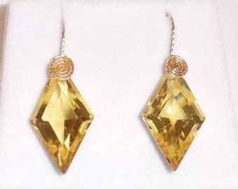 NATURAL 24ct Fancy Lemon Yellow Quartz gemstone, 14kt yellow gold Pierced Earrings