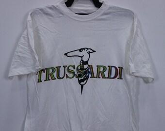 Sale Rare Vintage 90s Trussardi Italian Brand Multicolor Spellout Big Logo T Shirt c9yIgH
