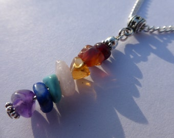 Rainbow Chakra Gemstone Chip Pendant Silver Plated Chain Necklace - Zen - Yoga - Boho - Hippy - Gypsy - Crystal Healing
