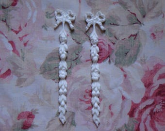 New! Shabby Chic Floral Drops Pair Furniture Applique Architectural Pediment Onlay