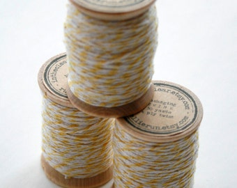 Packaging Twine - 30 Yards on Wooden Spool - Lemon Yellow