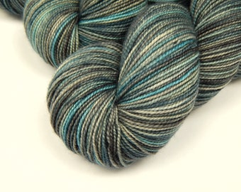 Hand Dyed Yarn, Sock Weight Superwash 100% Merino Wool Yarn - Storm Clouds - Indie Dyed Fingering Knitting Yarn, Sock Yarn, Blue Grey Gray