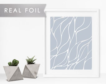 Abstract Net Real Silver Foil Art Print 11x14, 8x10, 5x7 Poster Print Buy 2 Get 1 Free