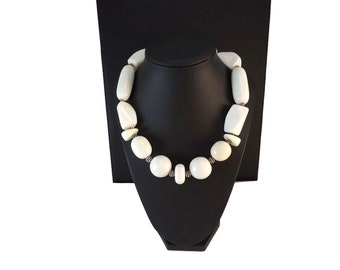 Off White Necklace Chunky, Choker Style Necklace Beaded Short, White Statement Necklace Resin Beads Sterling Silver, Chunky Jewelry White