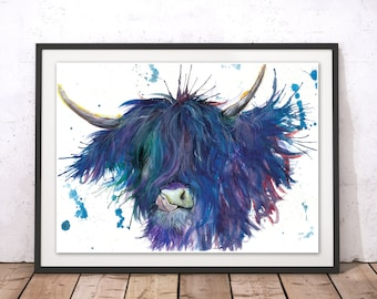 Highland Cow Print Painting, Scottish Cow Wall Art, Buffalo Print, Highland Cow Home Decor Illustration, Scotland Cow by Katherine