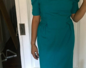 teal leslie fay vintage dress