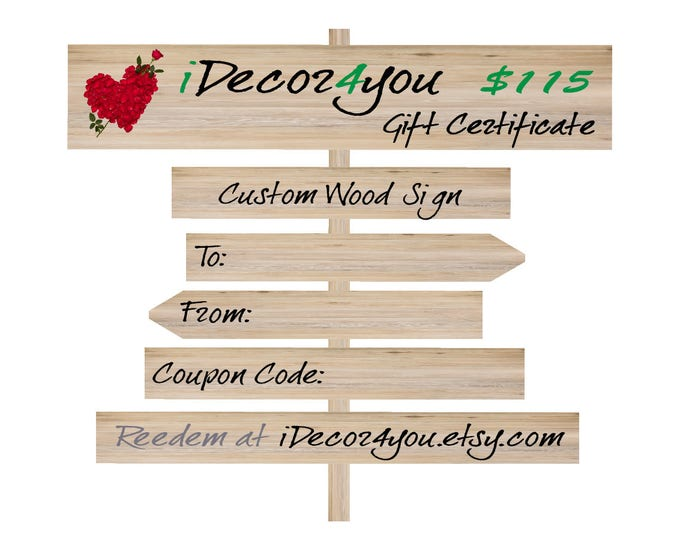 Father's Day Gift Certificate for Custom Wood Sign, Printable Gifts Card for Her, Gifts for him, Last Minute Gift idea
