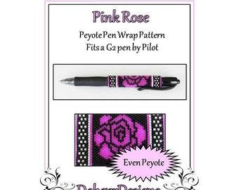 Bead Pattern Peyote(Pen Wrap/Cover)-Pink Rose