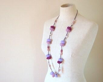 Wool Felted Pebbles Long Neckalce - 2 Ways to Wear it - Purple shades
