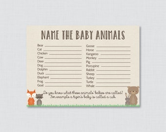 Baby Animals Name Game Baby Shower Printable Woodland Baby Shower    Printable Instant Download   Woodland Baby Shower Game   0010