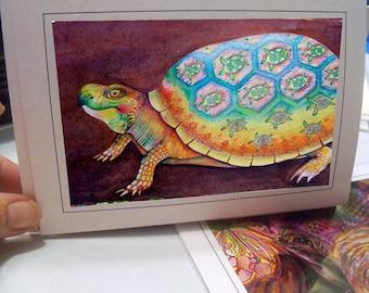 greeting card zentangle turtle print of drawing