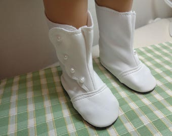 Vintage-Victorian White leather Boots -Shown on my Kids n Cats Doll