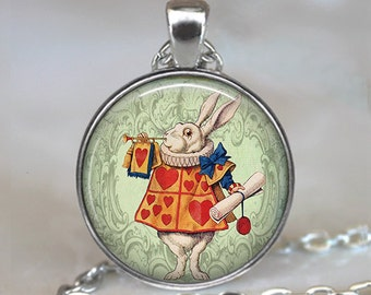 White Rabbit Herald pendant, White Rabbit pendant Alice in Wonderland jewelry White Rabbit necklace key chain key ring key fob