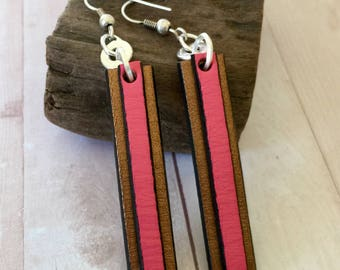 Joanna Earrings, Joanna Leather Earrings Bohemian Jewelry, Bohemian Leather Earrings, Hot Pink Earrings, Lightweight Earrings, Long Earrings