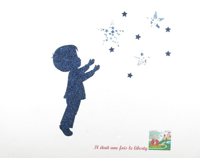 Applique liberty fusing boy star fabric Adelajda blue flex glittery pattern fusible patch iron on applique liberty