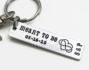 Meant To Be Personalized Keychain, Anniversary Keychain, Stamped Keychain, Wedding Bride Groom, Personalized Couples Gift for Him For Her