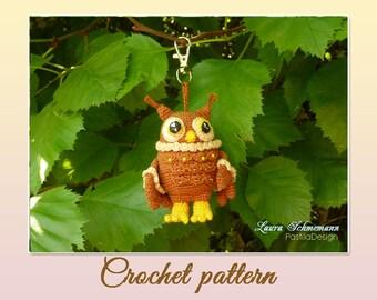 Crochet owl pendant / hanger / ornament - crochet pattern, pfd, DIY