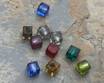 Multi Colored Cube Beads, Small Glass Cube Beads, 6mm, 10 beads per package