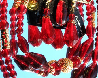 Red Ruby Vintage Set BohemiaN Glass Earrings Necklace Brooch Pin Modernist Full Parure Ruby Lucite Beads Ornate Lacy Gold Foil Embellisments