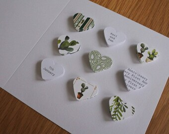 Handmade personalised First Anniversary card - 1st Paper - Cactus