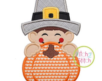 Pilgrim Boy Pumpkin Peeker Applique for Machine Embroidery (Shown with our Stacked Sans Monogram NOT included) INSTANT DOWNLOAD