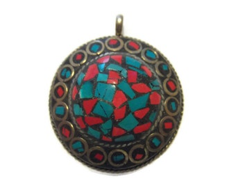 Nepal Turquoise Coral Inlay Pendant