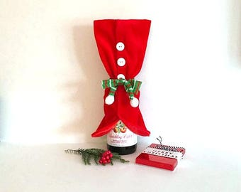 animal rescue fundraiser + handmade hand-sewn Christmas wine bottle cover / cozy + Santa Suit