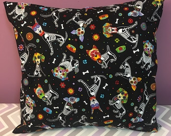 Day of the Dead Skeleton Sugar Skull Dog 18x18 Decorative Pillow