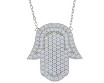 Hamsa Design CZ Pendant .925 Sterling Silver