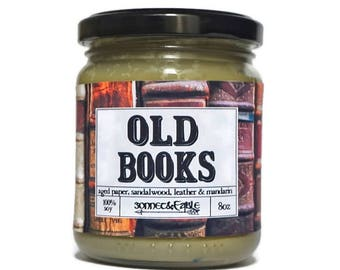 Old Books Candle, Old Book Smell Soy Candle, Book Lover Gift, Library Candle, Leather Book Smell, Bookish Candle, Aged Pages