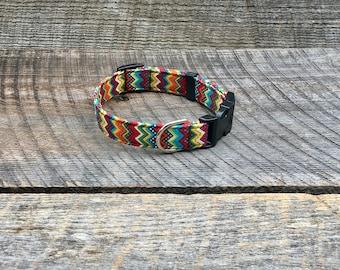 Colored Chevron Dog Collar