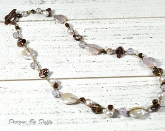 Pearl and Amethyst Knotted Necklace