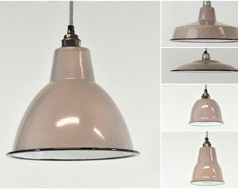 Enamel light shade etsy gilded beige enamel vintage factory industrial warehouse style light lamp shades 5 shapes aloadofball