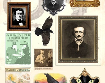 Edgar Allan Poe Digital Collage Sheet - Instant Download - Halloween - Portraits, Raven, Black Cat - Printable