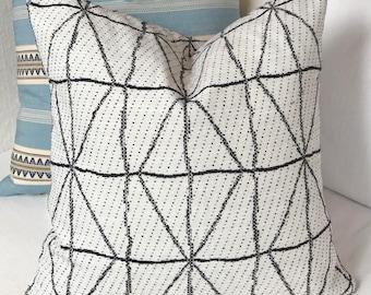 Black & White Throw Pillow in Geometric Tribal Print