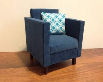 "Modern Blue Chair, Dollhouse furniture, 1:6 scale, playscale, 10""- 12"" dolls"