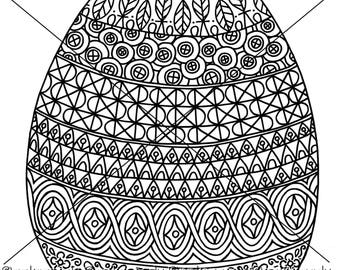 Easter Egg Zentangle Coloring Page
