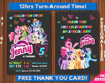 My Little Pony Invitation with FREE Thank you Card! My Little Pony Birthday Invitation, Pinkie Pie Invitation, Rainbow and Dash Invitation