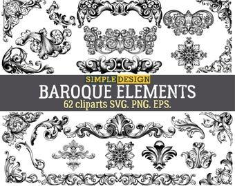 Vintage clipart, Baroque decor SVG, Vintage baroque SVG, Swirl frames SVG, Vintage svg, Digital floral frame, Vintage baroque, Corner svg