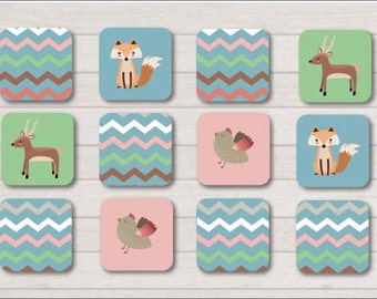 Woodland Animals Memory Game, Memory Card Game, Memory game, Printable games, Kids games
