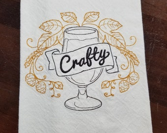Embroidered Craft Beer Flour Sack Towel - Ready to Ship