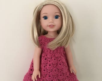 """14.5 inch doll dress. Hand crocheted dress for 14.5"""" doll such as American Girl Wellie Wishers. Doll outfit. Dolls clothes."""