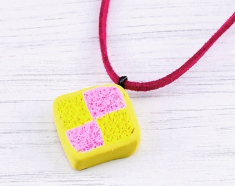 Battenberg necklace, Battenburg necklace, Battenberg pendant, quirky necklace, quirky gift, teen gift, cake, polymer clay cake, cake lover