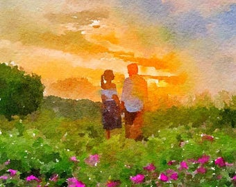 Couple Original Watercolor Brush Illustration Painting